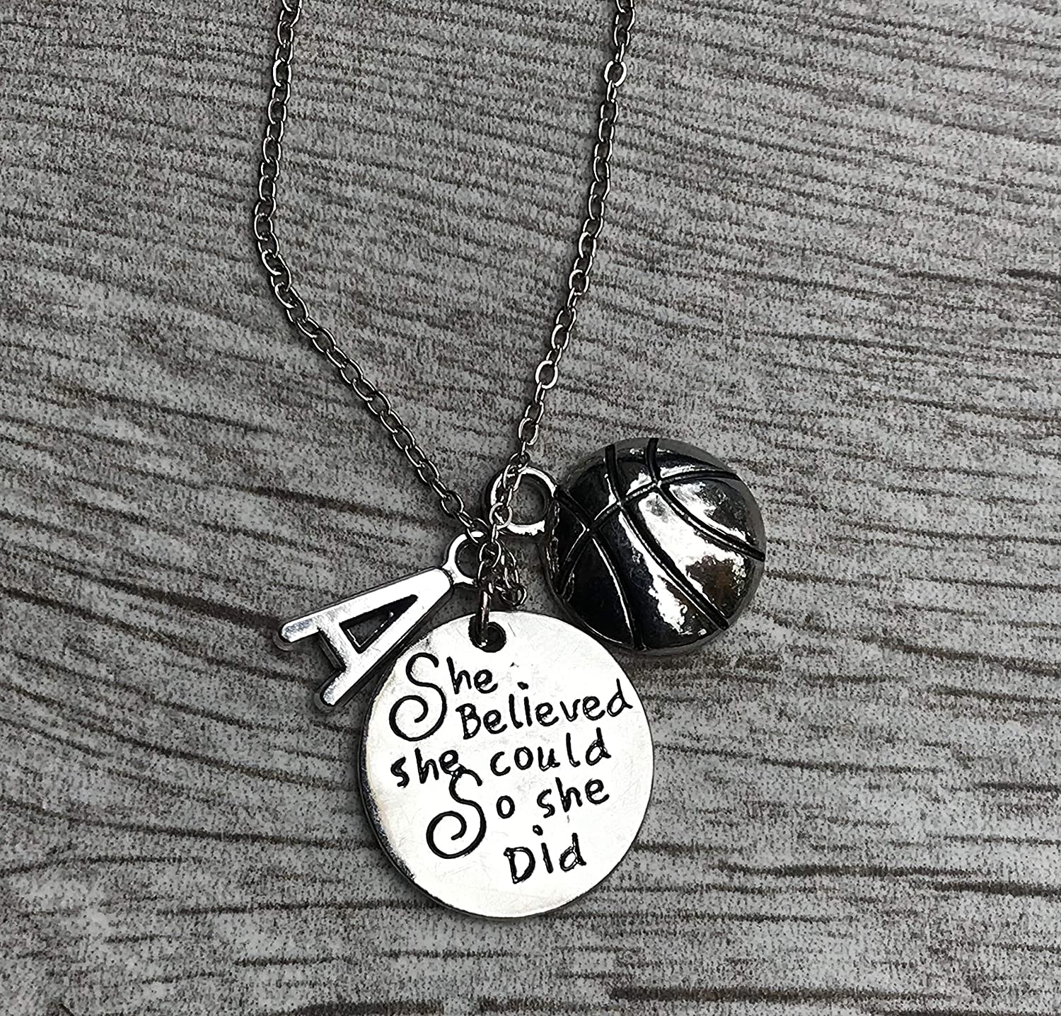 Perfect Gift for Basketball Players Personalized Basketball Necklace with Letter /& Birthstone Charm Basketball Jewelry