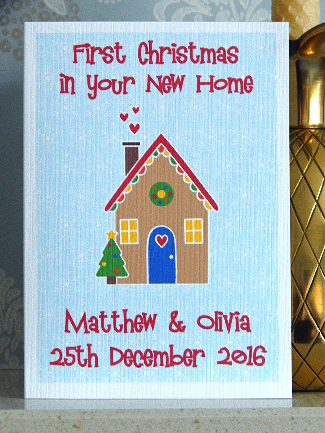 First christmas in your new home card personalised with any names first christmas in your new home card personalised with any names 1st xmas new house greeting card amazon baby kristyandbryce Gallery