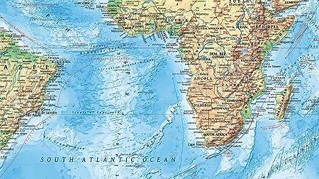 J.Bauer Karten Mapamundi topográfico, 220x144 cm, con Banderas, en ...