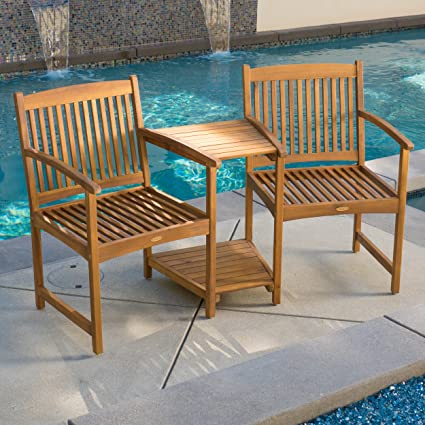Amazon.com : Outdoor Patio Furniture Adjoining Chairs & Table Two ...