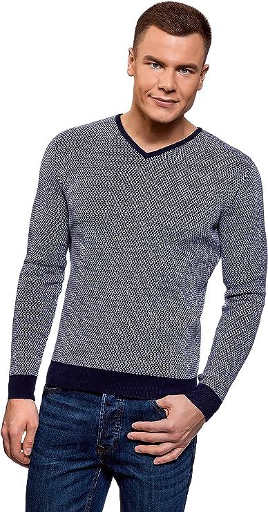 TALLA M. oodji Ultra Hombre Suéter de Jacquard con Escote en V
