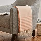 Amazon Brand – Stone & Beam Contemporary Stripe Throw Blanket - 60 x 50 Inch, Mahogany Rose