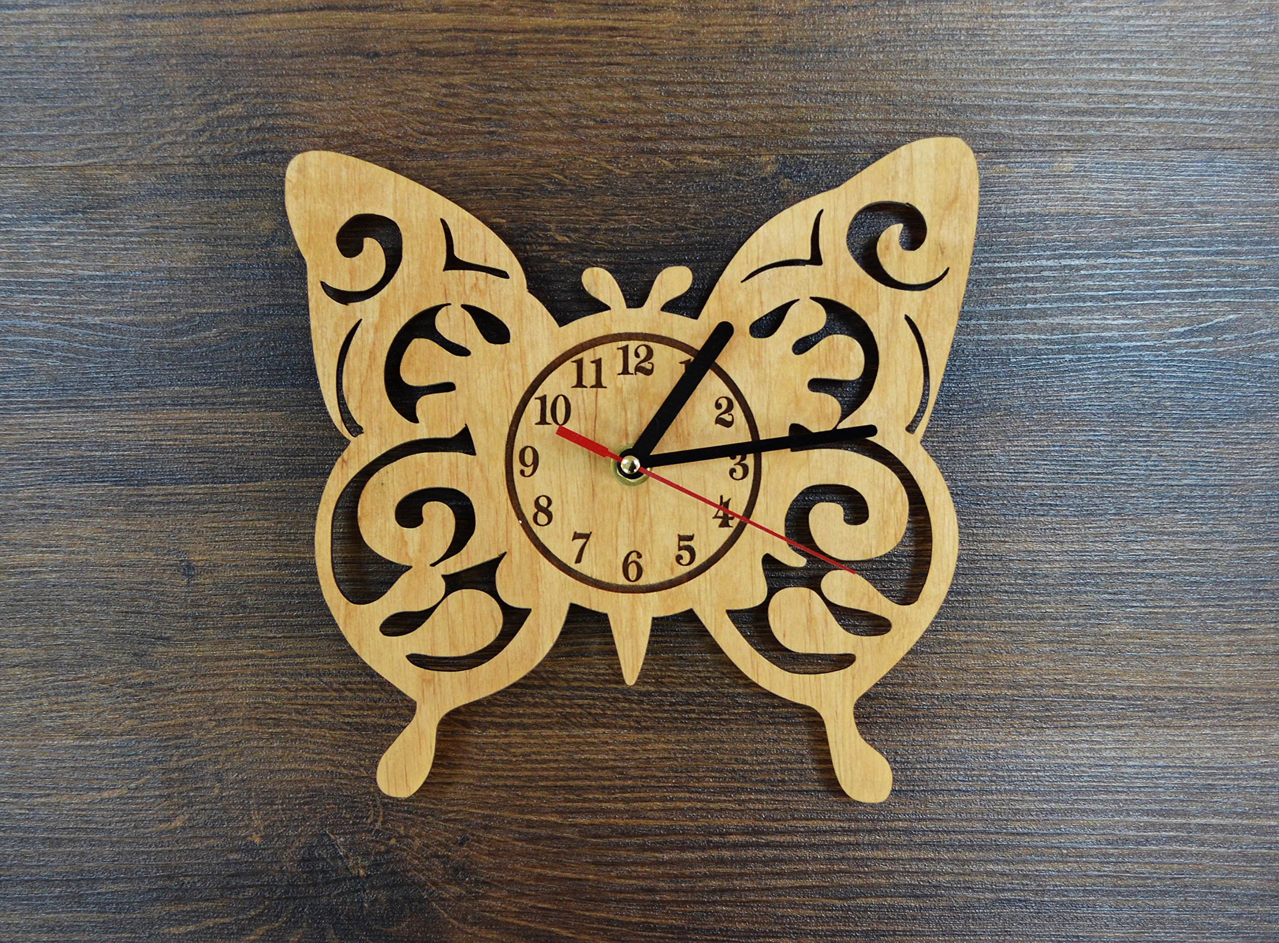 Butterfly Design Real Wood Wall Clock - Eco Friendly Natural Kids Room Wall Decor - Creative Gift Idea for Kids and Teens