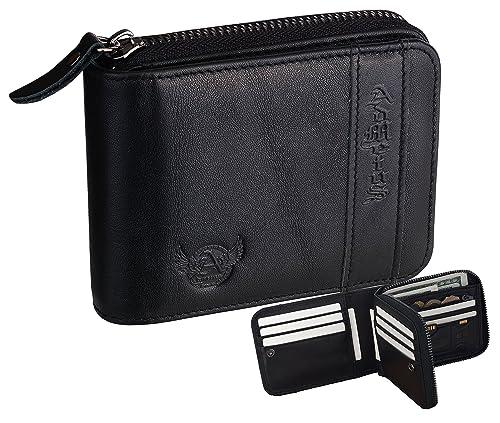 e33d4805f057 Mens RFID Blocking Wallets Zipper Leather Wallet for Men Bifold RFID Card  Holder