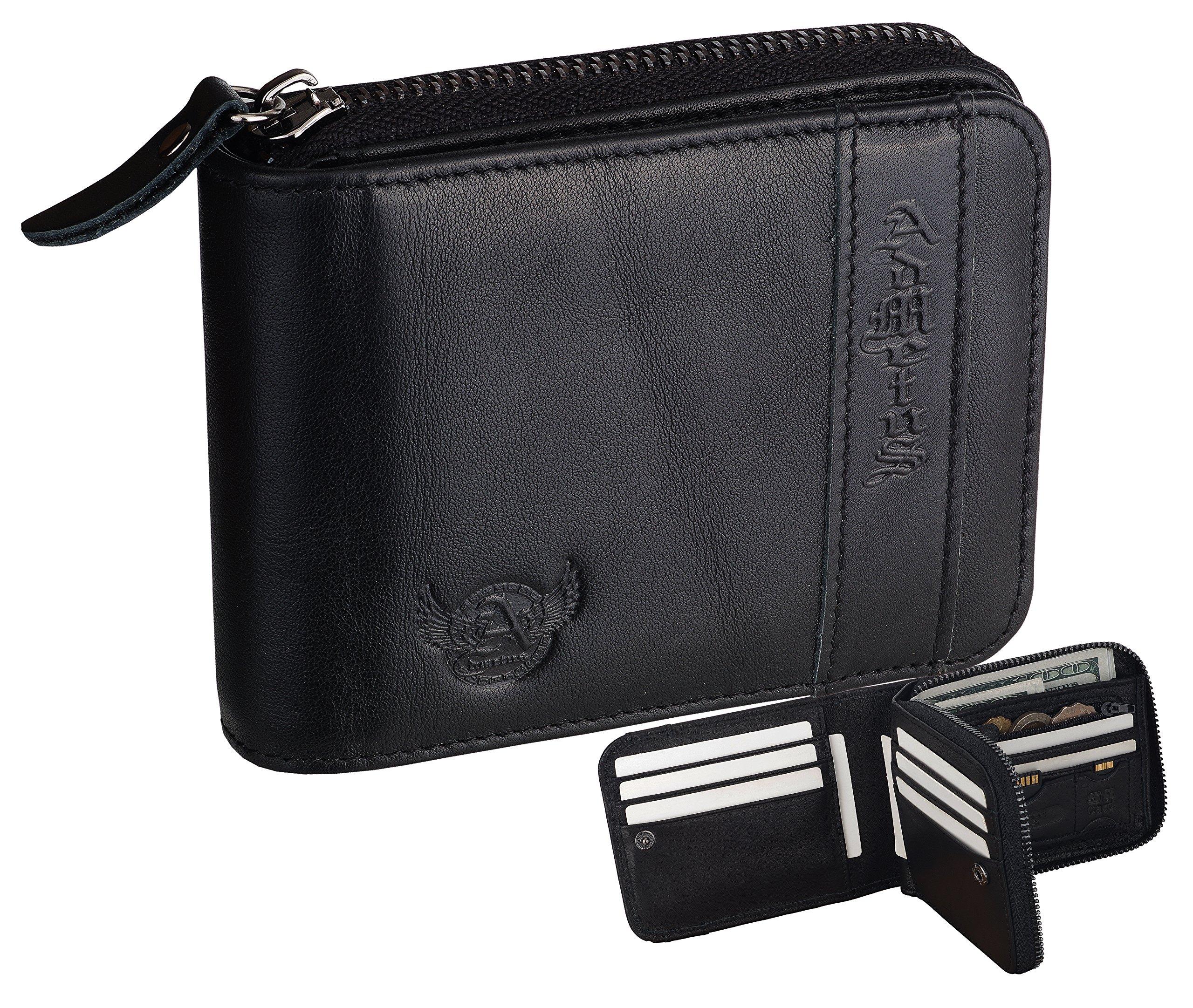 RFID Wallet Admetus Men's Genuine Leather Bifold Zip-around Wallet with Elegant Gift Box