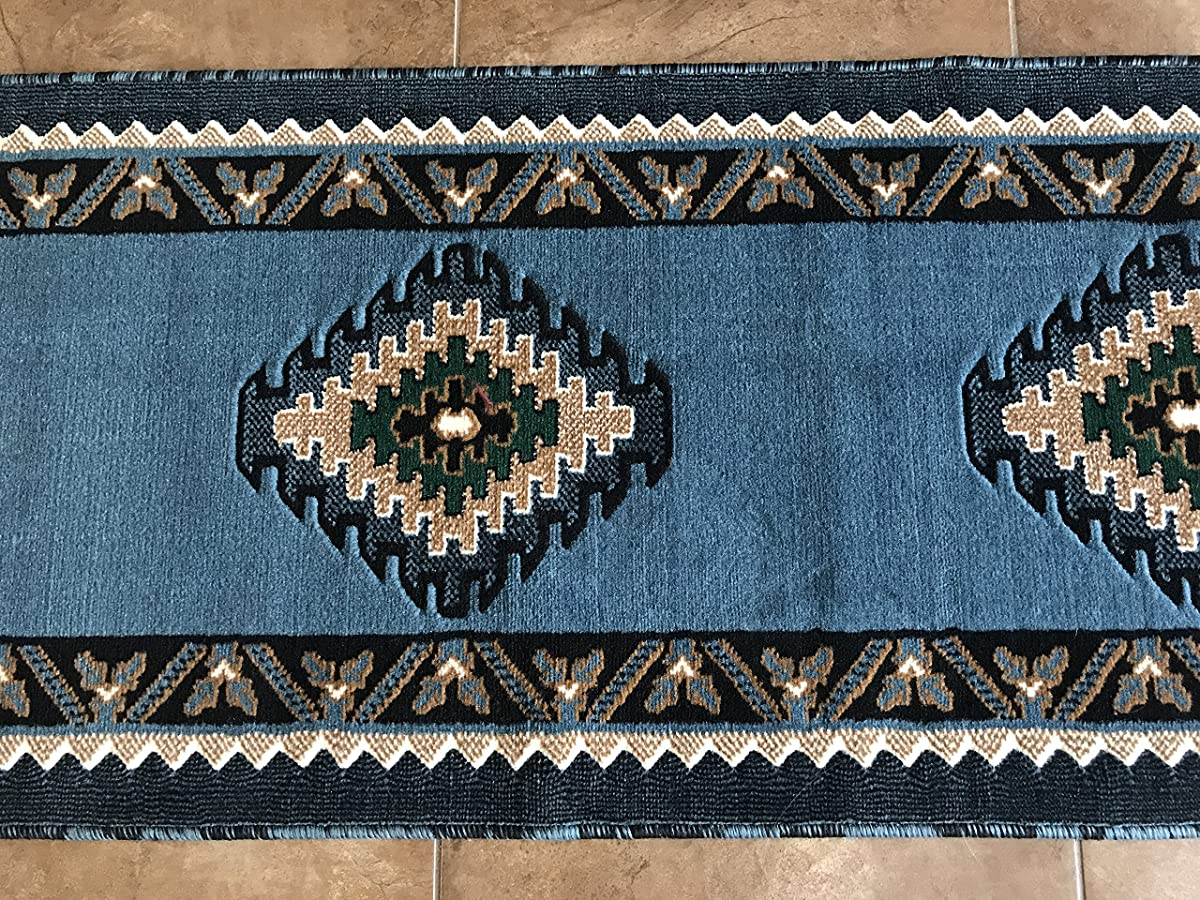 Kingdom Southwest Native American Runner Area Rug Blue & Green Design D143 (2ft.X7ft.)