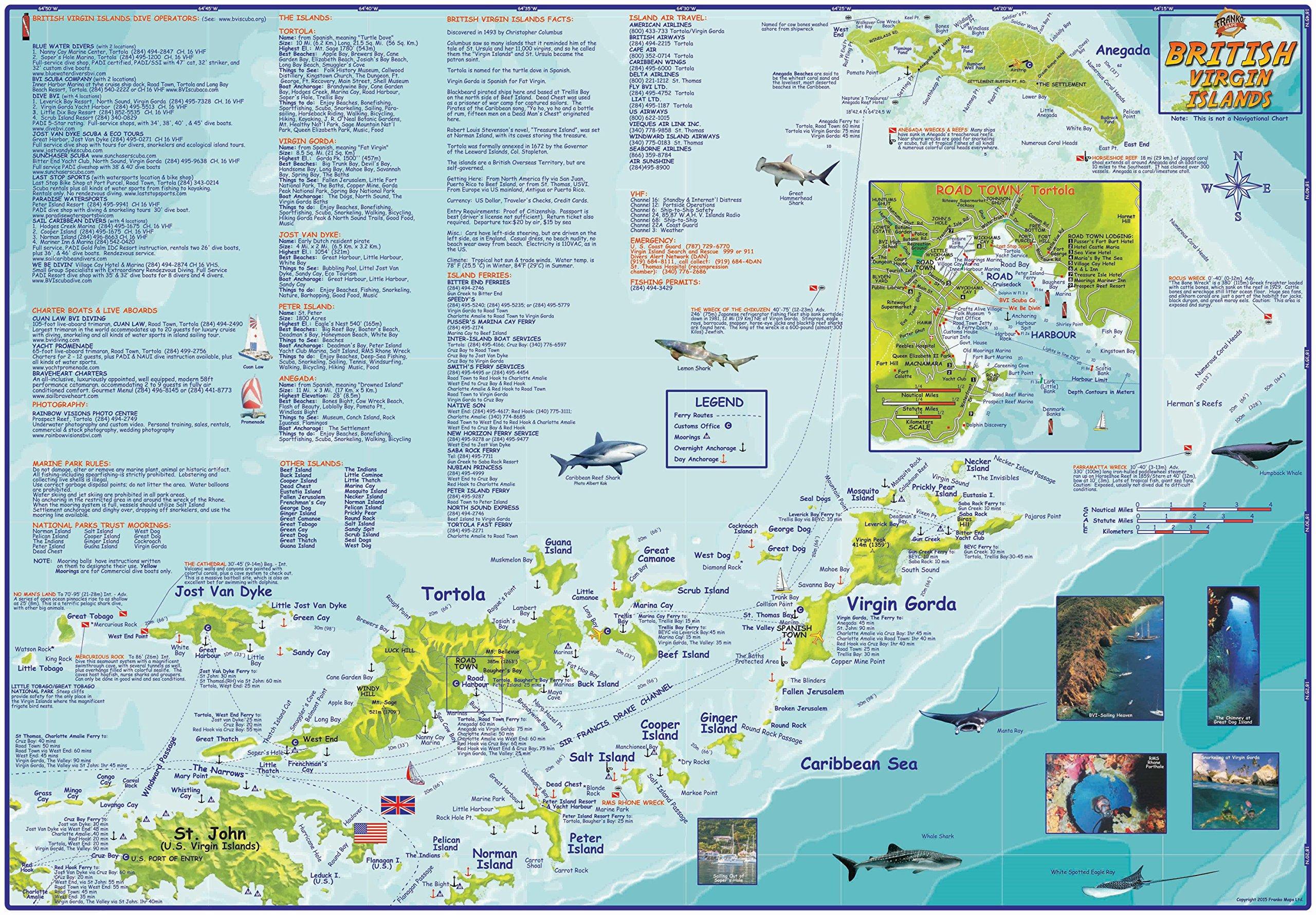british virgin islands bvi adventure  dive map franko maps laminatedposter franko maps ltd  amazoncom books. british virgin islands bvi adventure  dive map franko maps