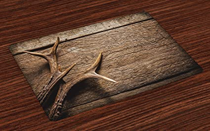 Ambesonne Antlers Place Mats Set Of 4, Deer Antlers On Wood Table Rustic  Texture Surface