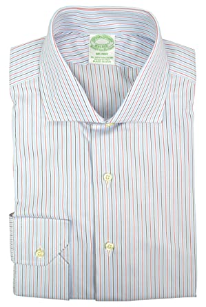 fba9e965147f Brooks Brothers Men s Milano Slim Fit Egyptian Cotton Shirt White Blue Red  Rope Striped (16.5 quot