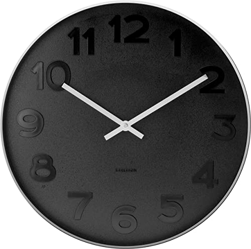 Wall clock Mr. Black numbers steel polished – small