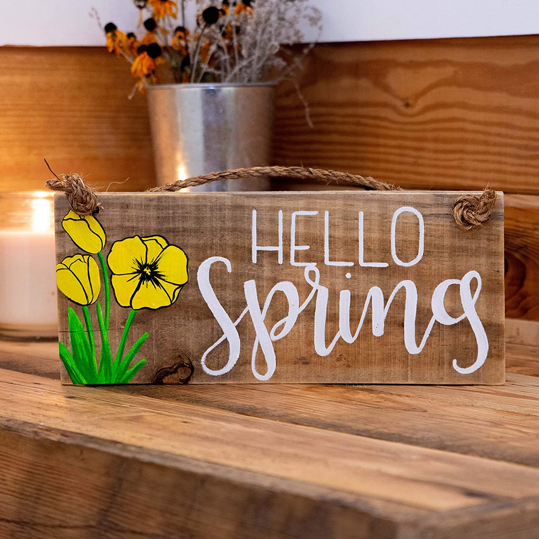 Hello Spring wood door hanger on rope Tulips Hello Spring sign