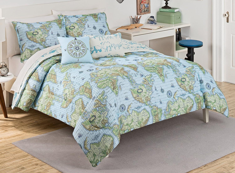 Waverly Kids 16479BEDDTWNBLU Buon Viaggio 86-Inch by 68-Inch Twin Bedding Collection, Blue