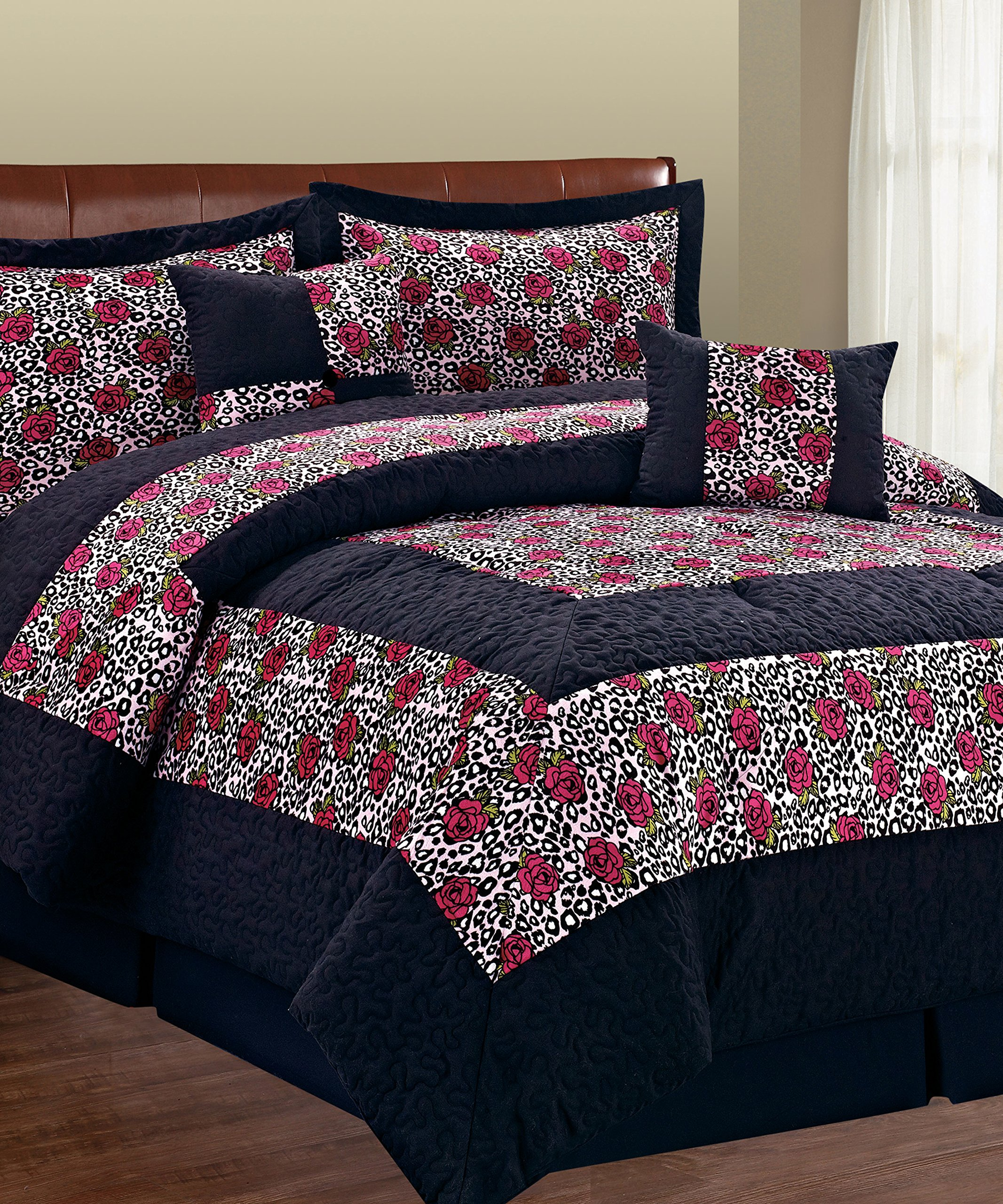 Serenta 6 Piece Animal Style Bed in a Bag Set, Queen, Leopard Flower