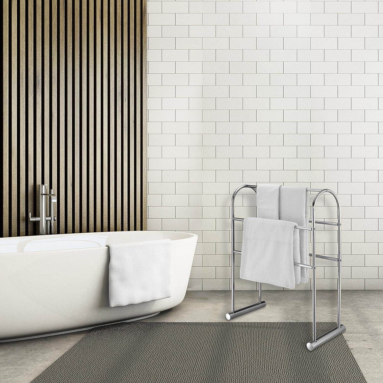 32-Inch Freestanding Bath Drying Rack MyGift Chrome-Plated 5 Bar Towel Stand Organizer