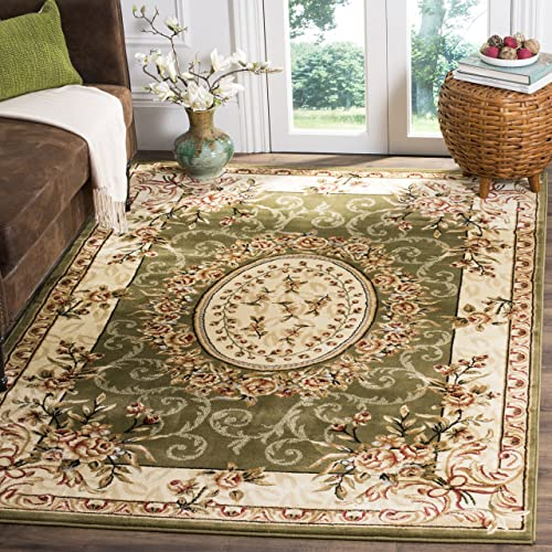 Safavieh Lyndhurst Collection LNH328B Traditional European Medallion Sage and Ivory Area Rug 4' x 6'