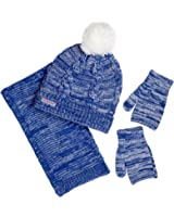 Sportoli Women's and Kids Girls' 3-Piece Cable Knit Cold Weather Accessory Set Warm Pull On Hat Scarf and Gloves