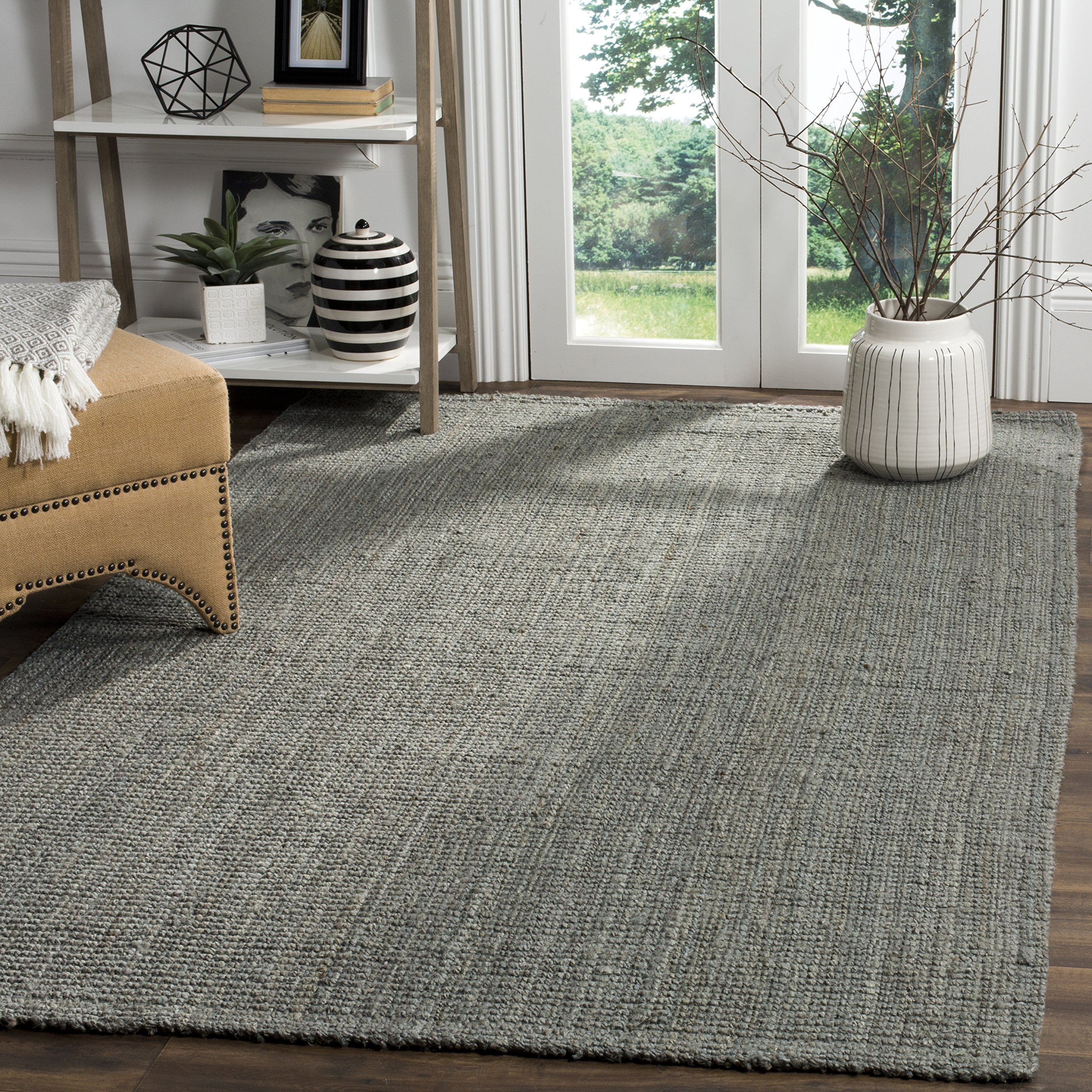 Safavieh Natural Fiber Collection NF730B Hand Woven Grey Jute Area Rug (6' x 9') by Safavieh