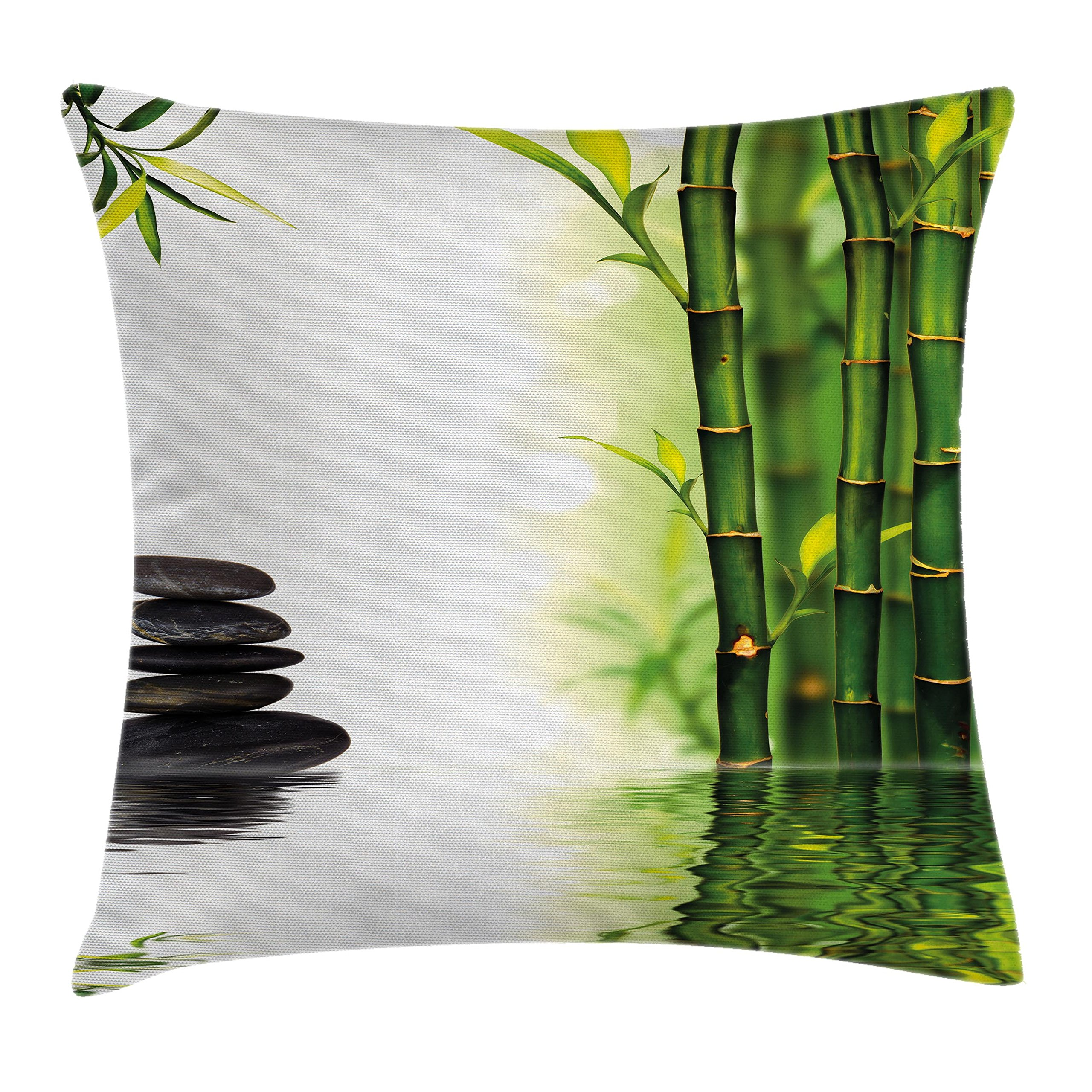 Ambesonne Spa Decor Throw Pillow Cushion Cover by, Bamboos Reflecting to the Water Near the Hot Black Massage Stones, Decorative Square Accent Pillow Case, 18 X 18 Inches, Black Green and White