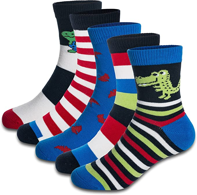Kids Boys Athletic Sports Crew Socks Cotton Comfortable Toe Seam 6 or 5 Pair