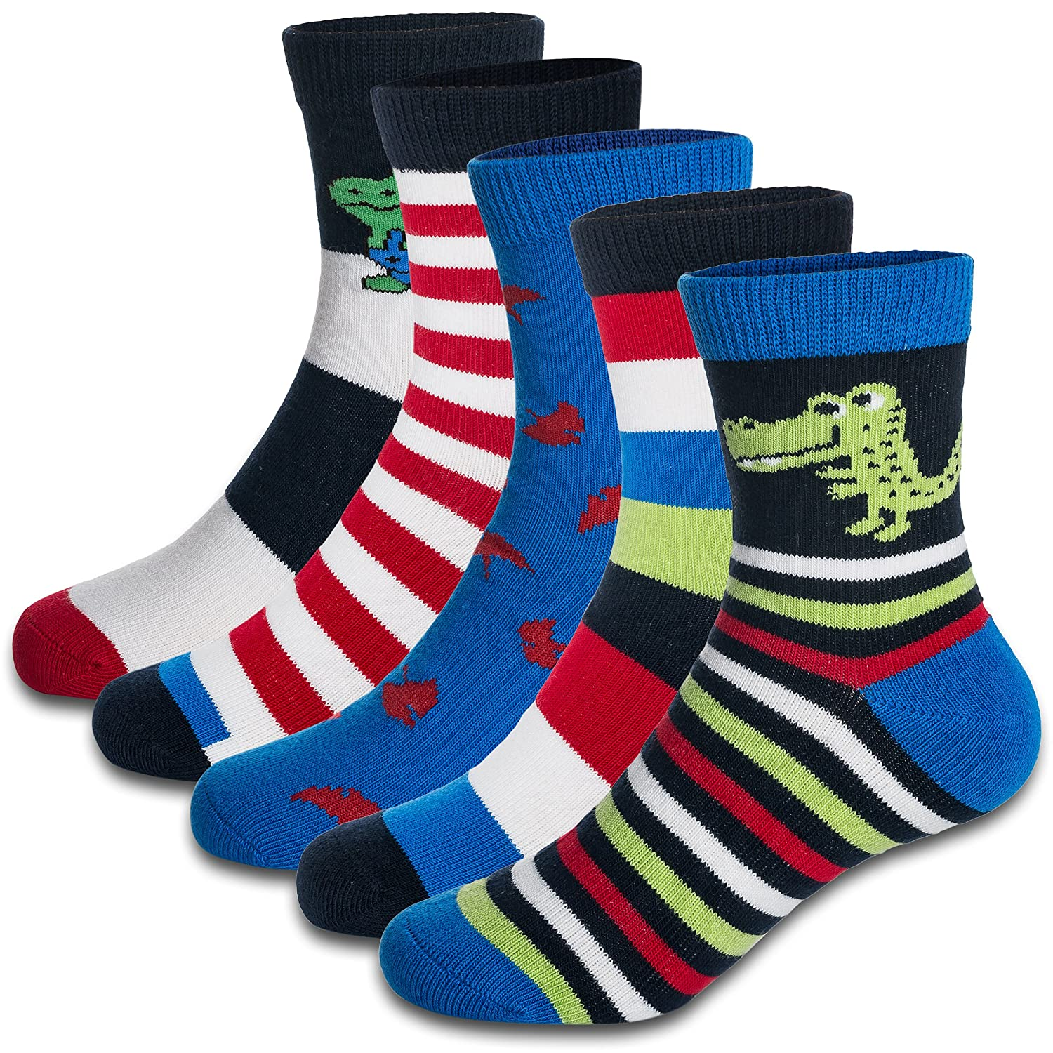Boys\' Crew Socks Kids Toddler Little Boys Fashion Seamless Cotton Striped Athletic Socks 5 Pairs Pack