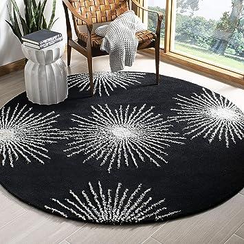 Amazon Com Safavieh Soho Collection Soh712d Handmade Starburst Premium Wool Viscose Area Rug 6 X 6 Round Black White Furniture Decor