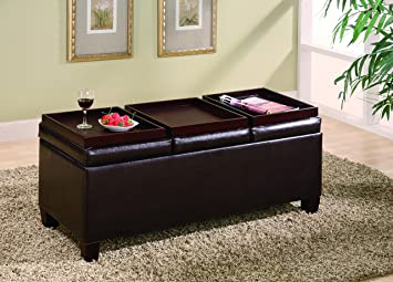 Merveilleux Coaster Storage Ottoman Coffee Table With Trays, Brown Vinyl
