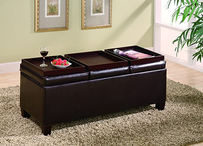 Attrayant Amazon.com: Coaster Casual Dark Brown Faux Leather Storage Ottoman With  Reversible Trays: Kitchen U0026 Dining
