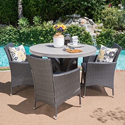 Sansai Outdoor 5 Piece Grey Wicker Dining Set With White Light Weight  Concrete Table And Silver
