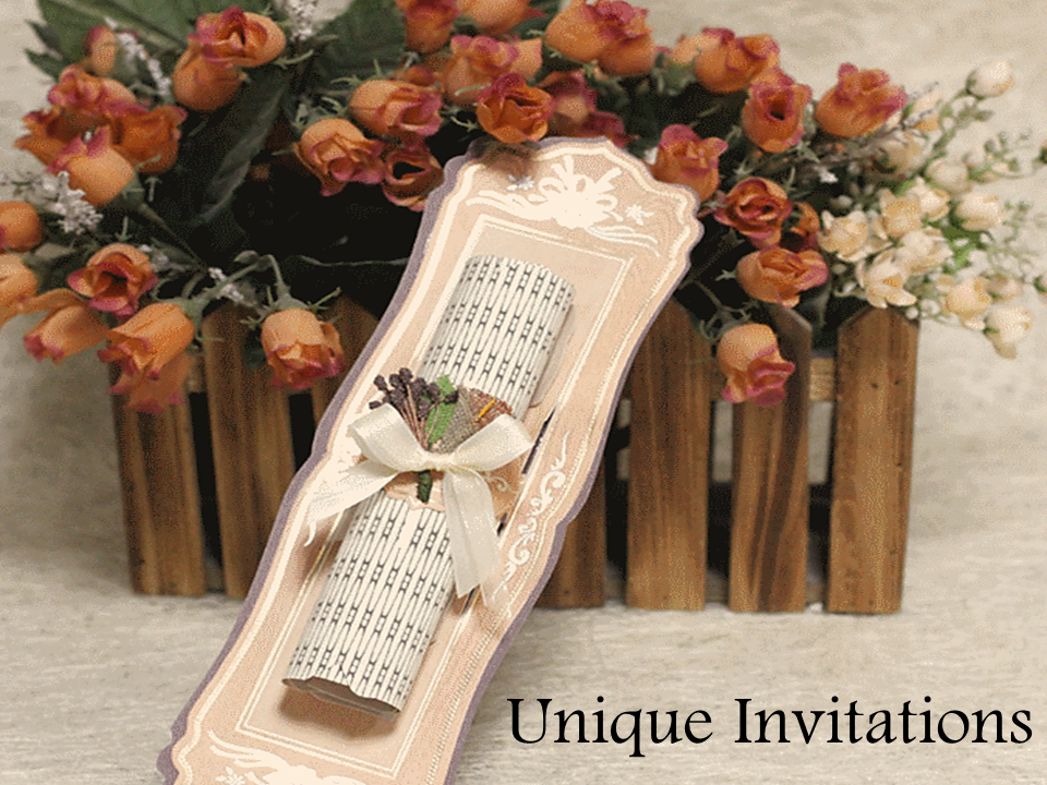 Unique invitations, custom   invitation cards, wooden scroll invitations