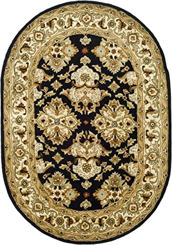 Safavieh Heritage Collection Handcrafted Traditional Oriental Black and Ivory Wool Oval Area Rug 7'6″ x 9'6″ Oval