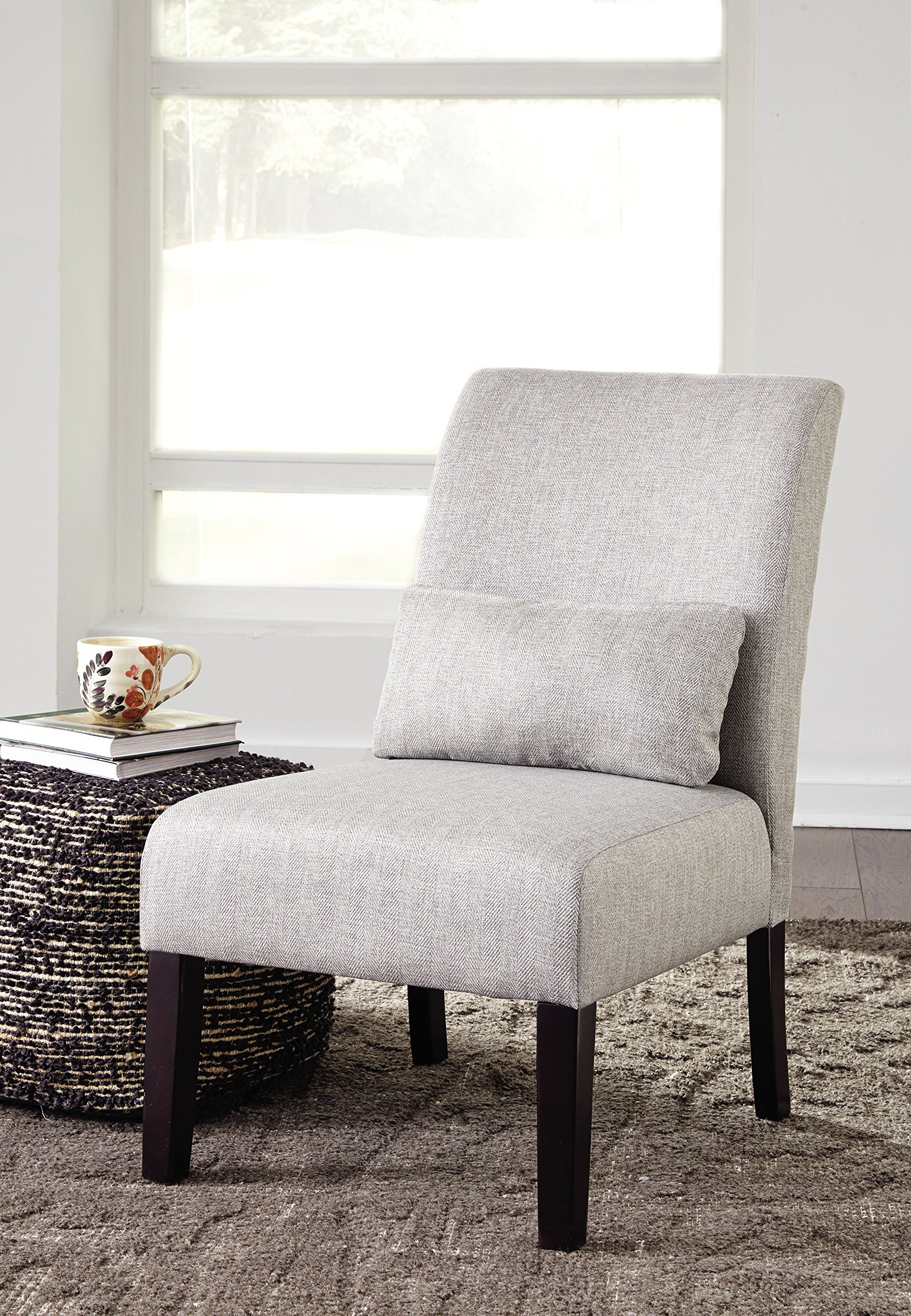 Ashley Furniture Signature Design - Sesto Accent Chair w/Pillow - Contemporary - Light Gray - Black Finish Legs by Signature Design by Ashley (Image #2)