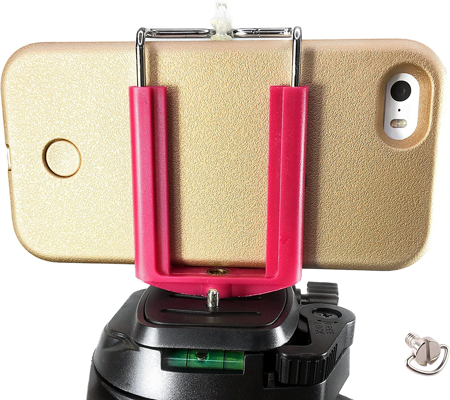 DaVoice Cell Phone Tripod Adapter Mount Holder Clamp Compatible with iPhone X XS Max XR Se 8 7 6 6s Plus Samsung Galaxy S9 S8 S7 Edge Adjustable Smartphone Bracket Clip Cellphone Attachment (Fuchsia)