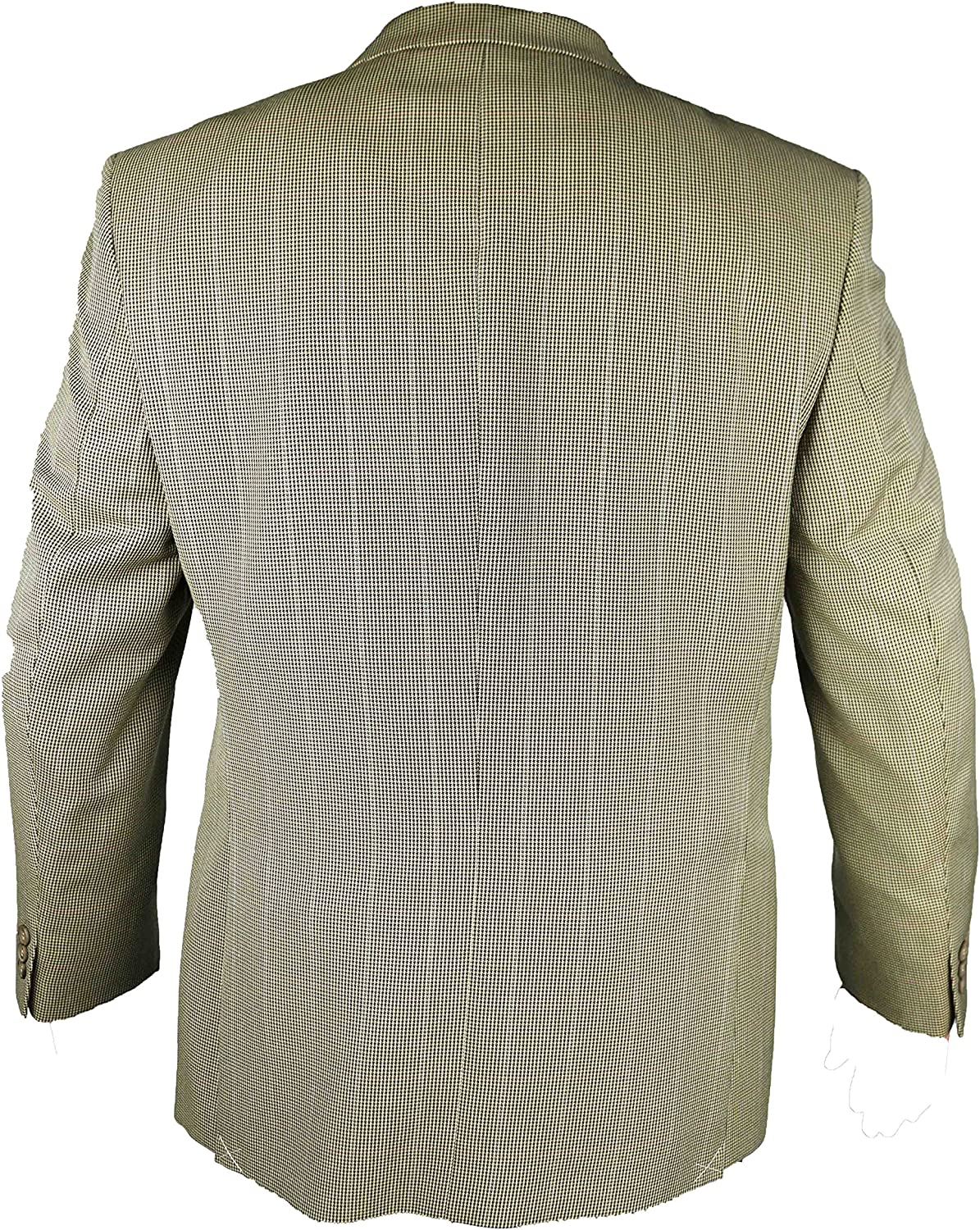 Carabou Mens Classic Brown Small Checked Blazer Jacket by with Front Double Button Fastening
