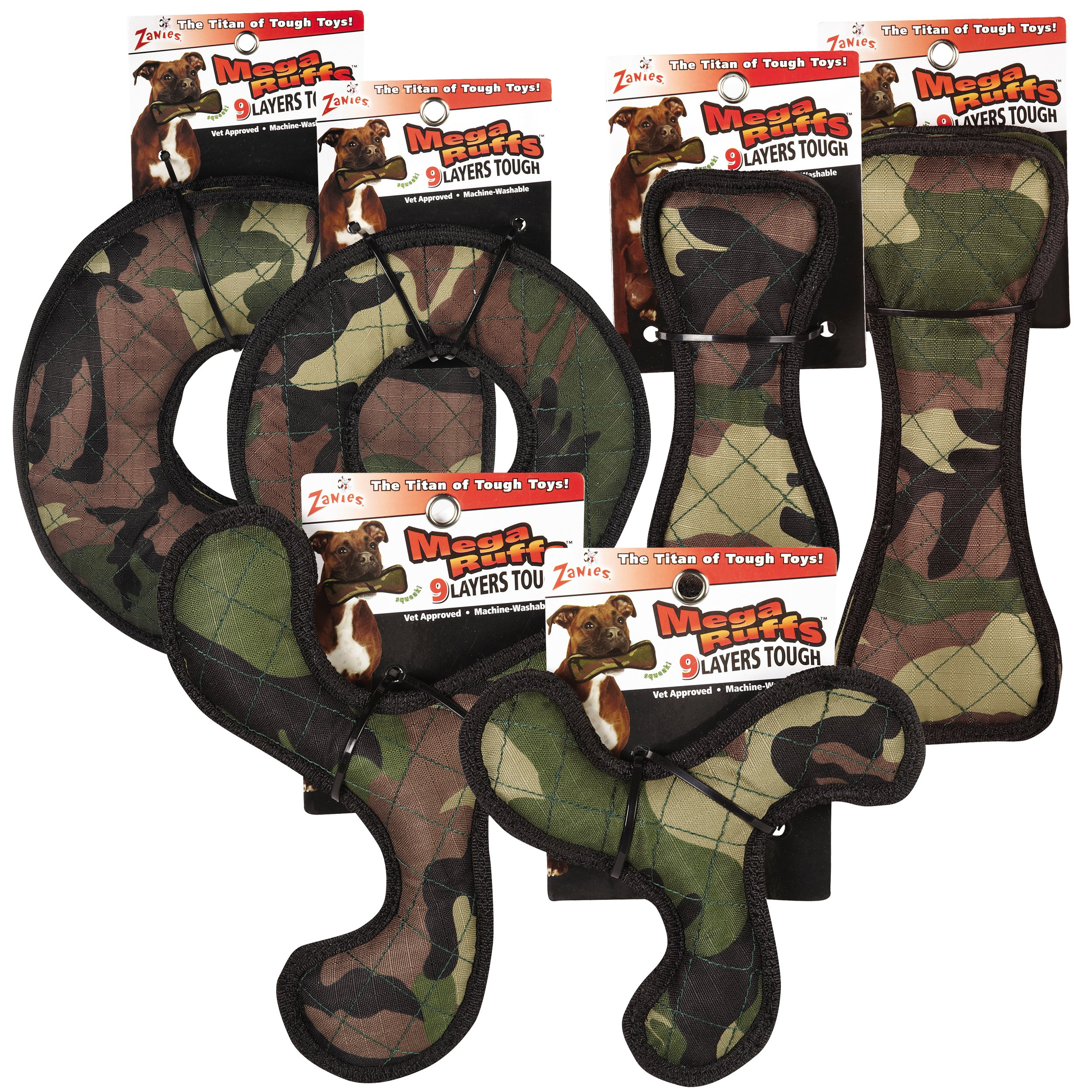 Zanies 12 Piece MegaRuffs Camo Toy Pack, Green