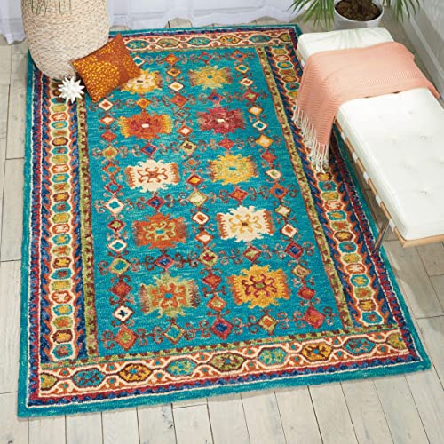 Nourison VIV09 Modern Contemporary Area Rug, 2 3 x7 6, TEAL