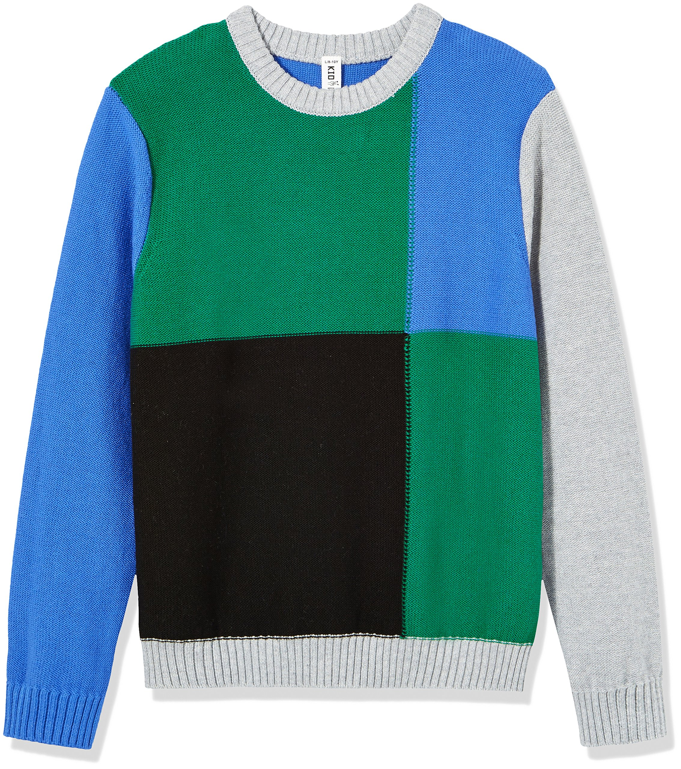 Kid Nation Boys' Long Sleeve Pullover Color Blocked Sweater XS Blue