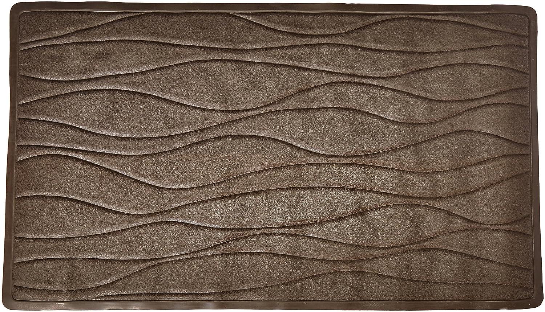 Carnation Home Fashions Medium 16-Inch by 28-Inch Rubber Bath Tub Mats, Brown Inc. TM-D/13