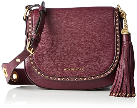 59608d267dad Image Unavailable. Image not available for. Color: Michael Kors Brooklyn  Medium Saddle Bag Plum