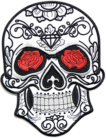 c8cb431868c 9.75 quot  XXL Size Big Jumbo Large Red Rose Sugar Skull Ghost Day of Death  Love