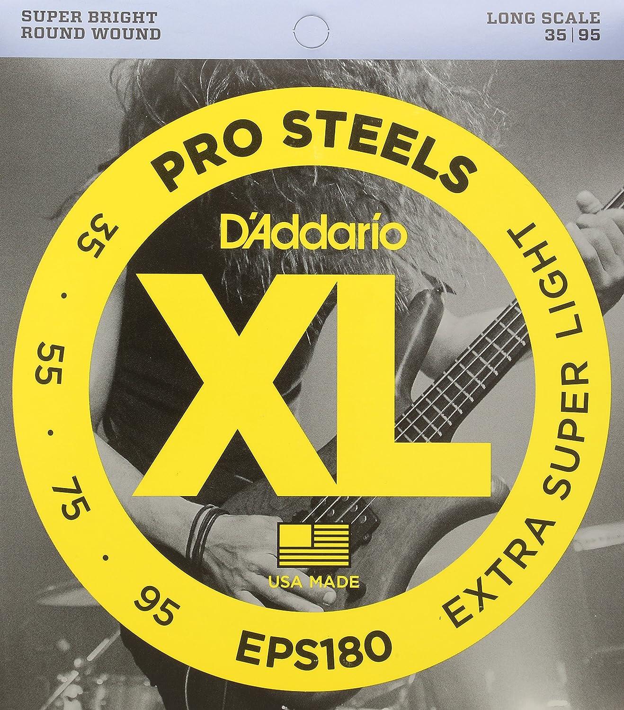 D'Addario EPS180 ProSteels Bass Guitar Strings, Extra Super Light, 35-95, Long Scale D'Addario