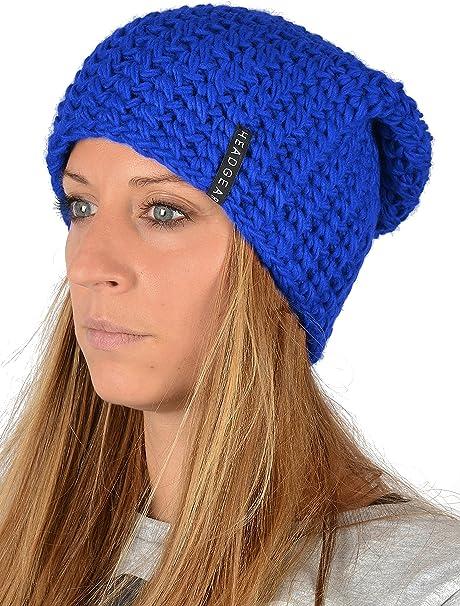 Damenm/ütze royal-blau Damen Oversize H/äkel Beanie Farbe