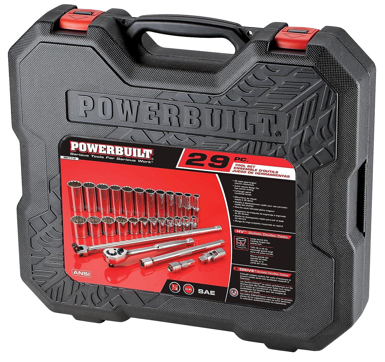 29 Pieces Powerbuilt 641710 1//2 Drive SAE Socket Set