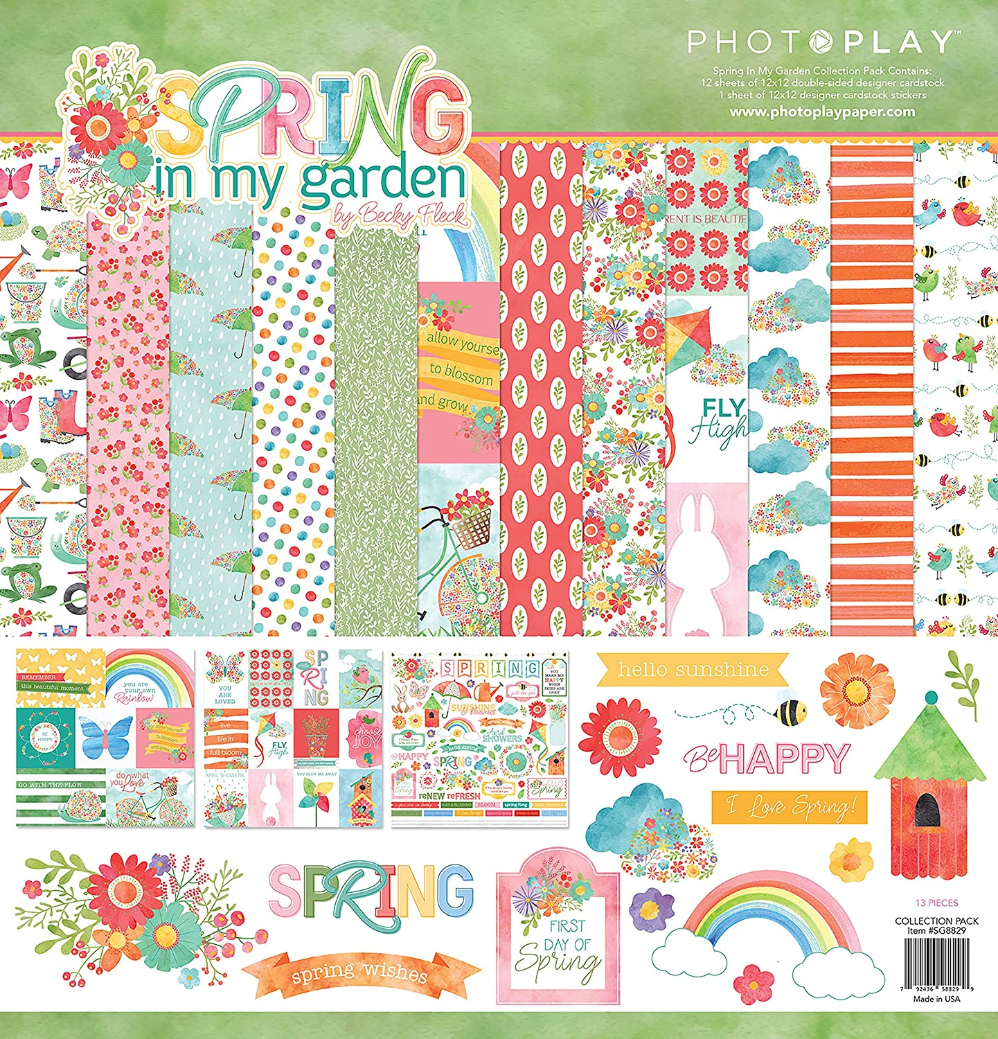 2 Sheets HAPPY SPRING Diamond Dot 12 x 12 Doublesided Paper