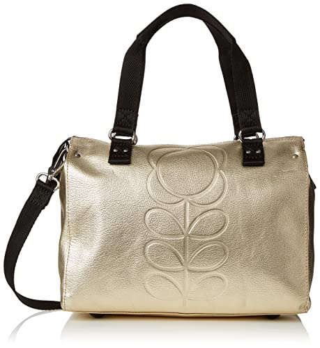 99154baf2299 Orla Kiely Womens Embossed Flower Stem Leather Small Zip Messenger  Messenger Bag Gold (Gold)  Amazon.co.uk  Shoes   Bags