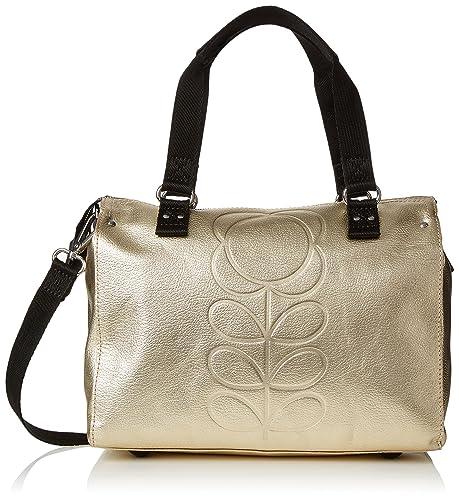 Womens Embossed Flower Stem Leather Small Zip Messenger Messenger Bag Gold (Gold) Orla Kiely LHAM83Tt2
