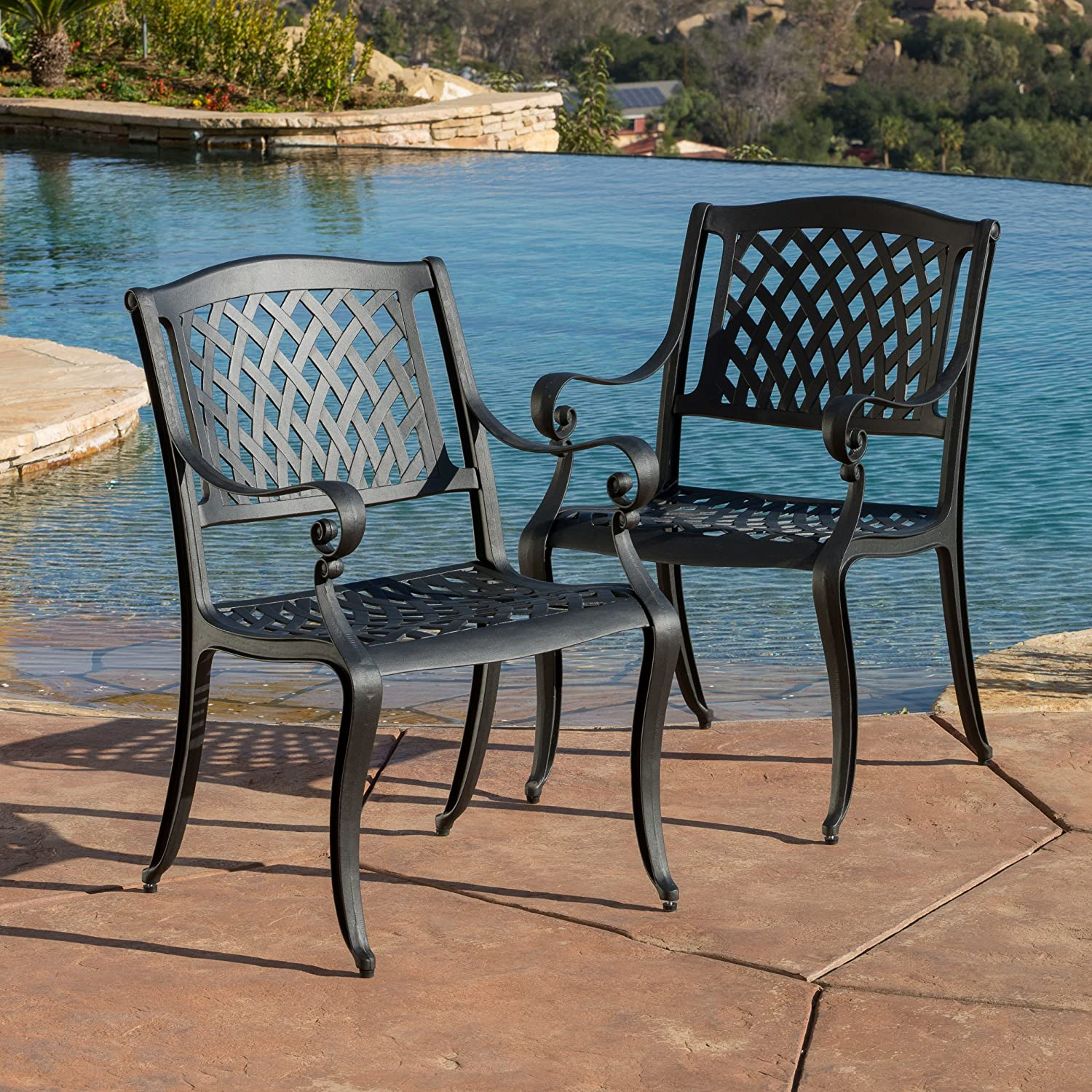 Amazon.com: Marietta Outdoor Cast Aluminum Dining Chairs (Set Of 2):  Kitchen U0026 Dining