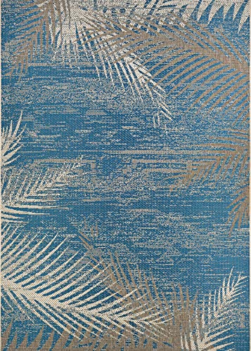 Couristan Monaco Tropical Palms Indoor Outdoor Area Rug, 5 10 x 9 2 , Ocean