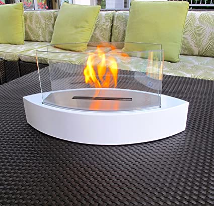 Chic Fireplaces  Concord White TableTop Ventless Bio Ethanol Fireplace,  Indoor/Outdoor, Portable