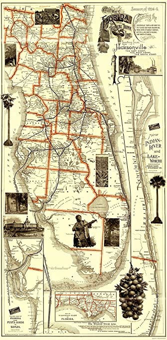 Florida Railroad Map.Amazon Com Old Railroad Map Florida Railroads Matthews 1894