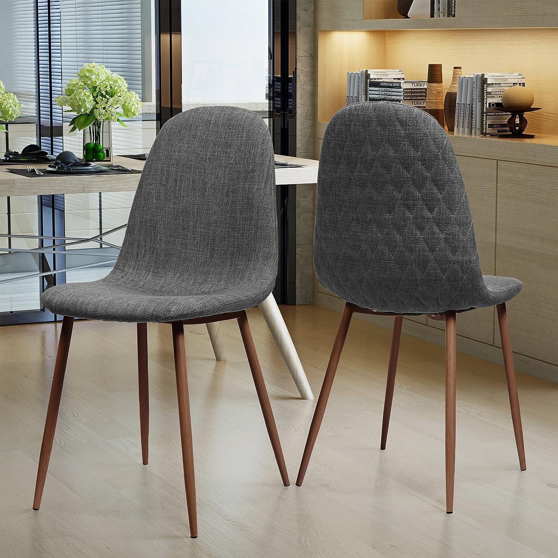 Camden Mid Century Light Grey Fabric Dining Chairs with Dark Walnut Wood  Finished Legs (Set of 2)